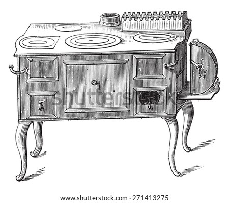 Economic stove, vintage engraved illustration.