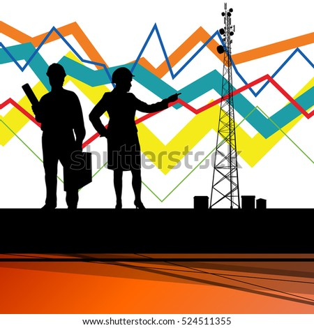 Economics data chart and engineers silhouettes and mobile phone telecommunications radio tower base station with in abstract background vector illustration