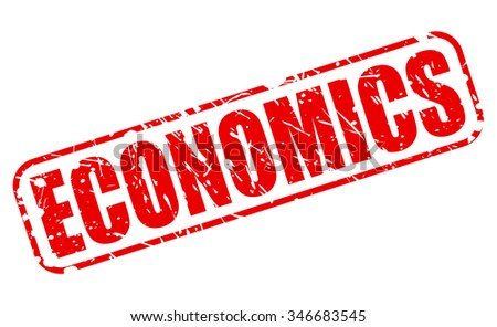 ECONOMICS red stamp text on white - stock vector