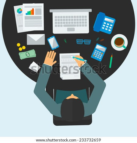 Economist or accountant manager workplace, vector illustration. Male person sitting at the table in office. Accounting icons set.   - stock vector