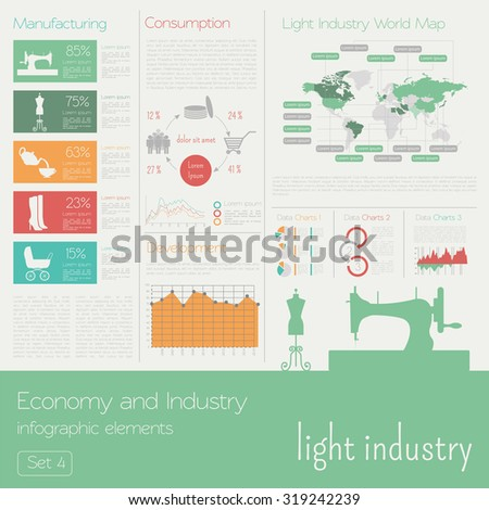 Economy and industry. Light industry. Industrial infographic template. Vector illustration - stock vector