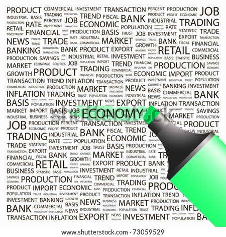 ECONOMY. Highlighter over background with different association terms. Vector illustration. - stock vector