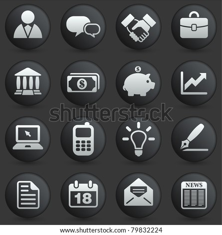 Economy Icon on Round Black and White Button Collection Original Illustration - stock vector