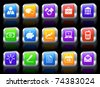 Economy Icon on Square Button with Metallic Rim Collection Original Illustration - stock vector