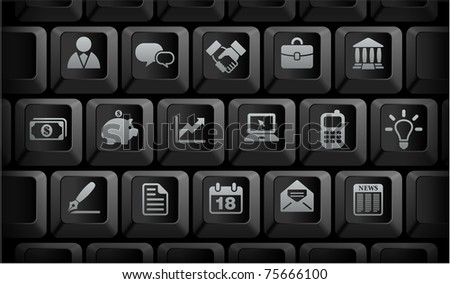 Economy Icons on Black Computer Keyboard Buttons Original Illustration - stock vector