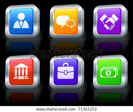 Economy Icons on Square Button Collection with Metallic Rim Original Illustration - stock vector