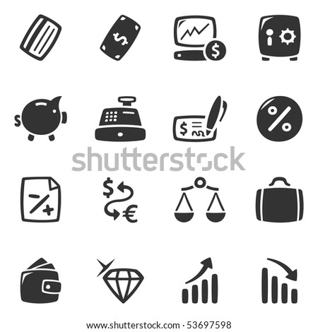 Economy icons, set 1 of 2. Slightly asymmetric and curvy.