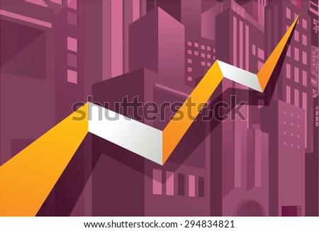 Economy stock market go up, raise up, good fortune. City building background. - stock vector