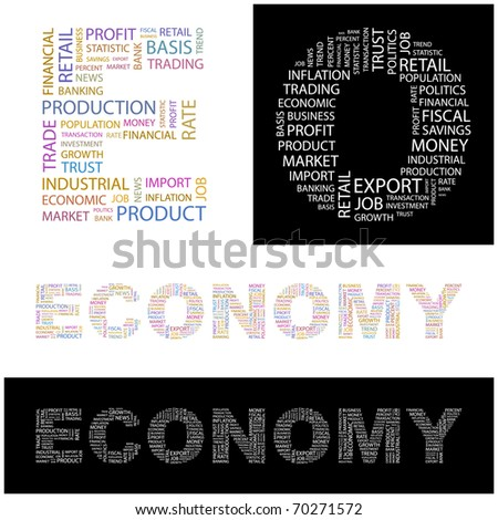 ECONOMY. Word collage. Illustration with different association terms. - stock vector