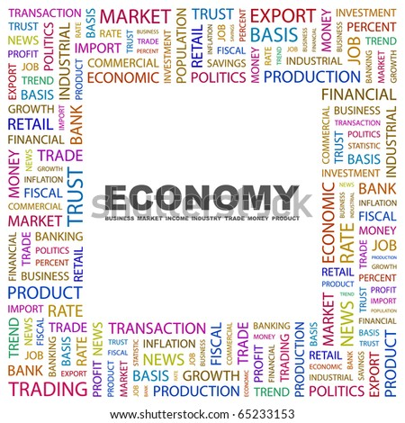 ECONOMY. Word collage on white background. Illustration with different association terms. - stock vector
