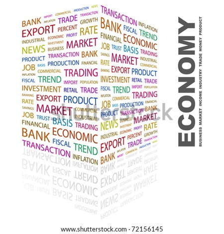 ECONOMY. Word collage on white background. Vector illustration. Illustration with different association terms. - stock vector