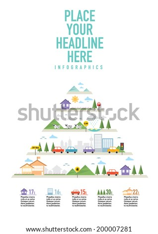 Ecosystem Info graphic icon set diagram/ ecology icon layout design - stock vector