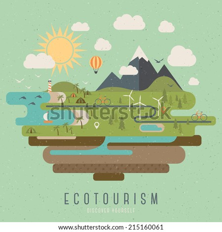 Ecotourism vintage style illustration - stock vector