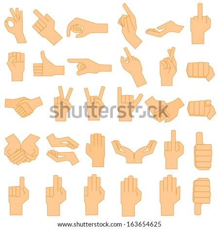 ector illustration of set of hand gesturing - stock vector