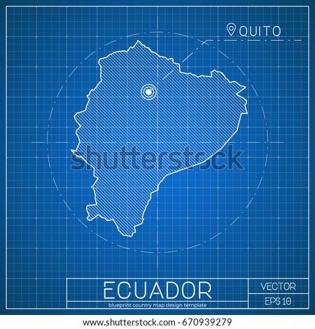 Blueprint ecuador imgenes pagas y sin cargo y vectores en stock ecuador blueprint map template with capital city vector illustration malvernweather Image collections