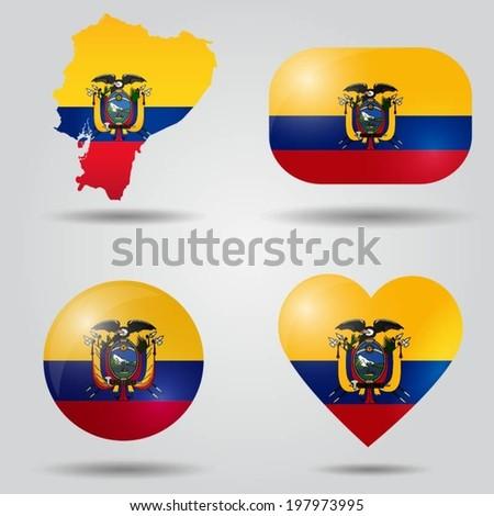Ecuador flag set in map, oval, circular and heart shape. - stock vector