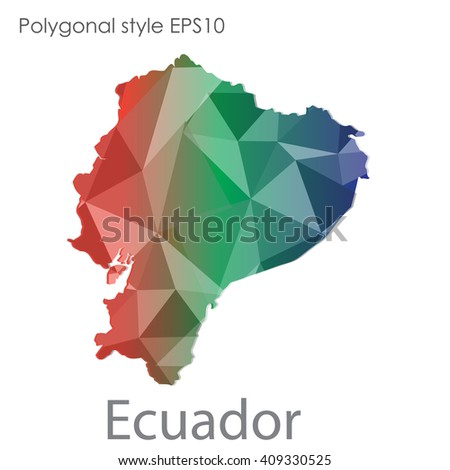 Ecuador map in geometric polygonal style.Abstract gems triangle,modern design background.