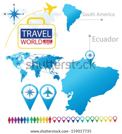 Ecuador. south america. World Map. Travel vector Illustration. - stock vector