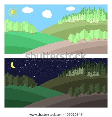 Edge of the Forest. Day and Night in the Forest. - stock vector