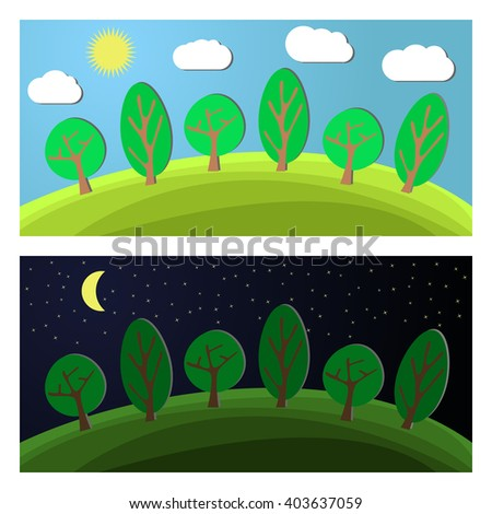 Edge of the Forest. Day and Night on a Clearing in the Forest. - stock vector