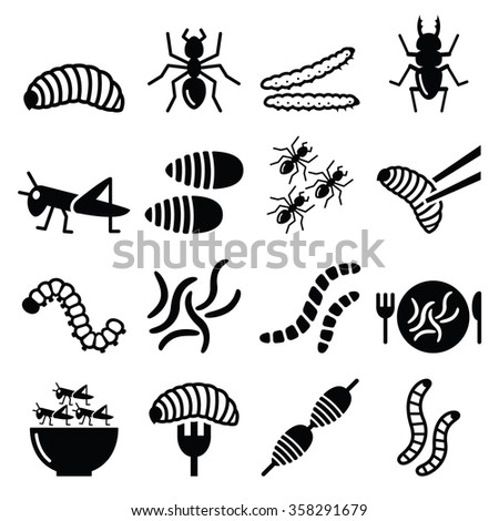 Edible worms and insects icons - alternative source of protein  - stock vector