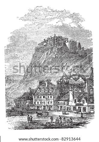 Edinburgh Castle in Scotland, during the 1890s, vintage engraving. Old engraved illustration of Edinburgh Castle. Trousset encyclopedia (1886 - 1891). - stock vector