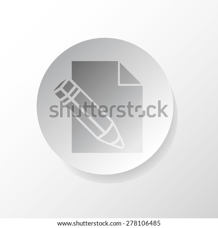 Edit file, web icon, vector design, in gray circle with shadow - stock vector