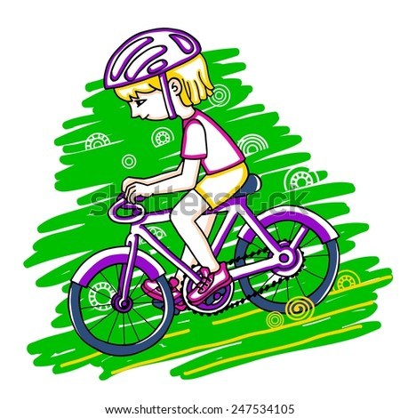 Edit girl on a bicycle color vector drawing. Healthy lifestyle background. - stock vector