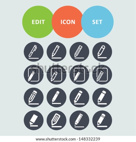Edit icon set - stock vector