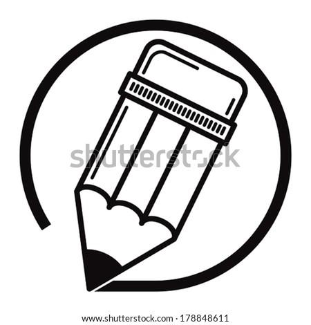 Edit pencil black and white vector icon. - stock vector