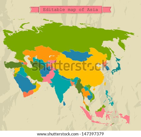 Editable Asia map with all countries. Vector illustration EPS8 - stock vector