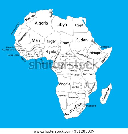 Editable blank vector map of  Africa. Vector map of Africa isolated on background. High detailed. Separated countries map of Africa. - stock vector