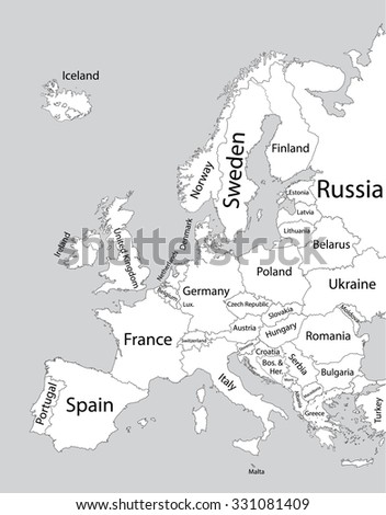 Editable blank vector map of  Europe. Vector map of Europe isolated on background. High detailed. Autonomous communities of Europe. Administrative divisions of Europe, separated provinces. - stock vector