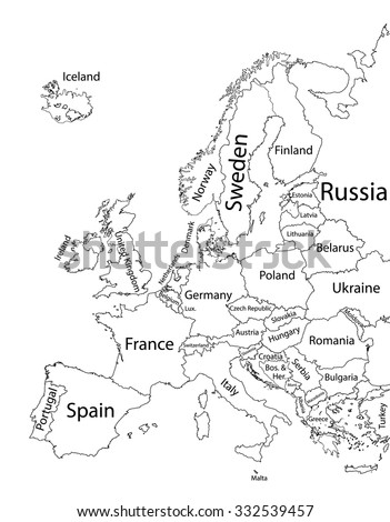 Editable Blank Vector Map Europe Vector Stock Vector - Europe political map outline printable