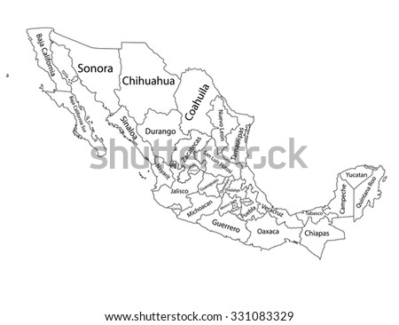 Editable blank vector map of  Mexico. Vector map of Mexico isolated on background. High detailed. Autonomous communities of Mexico. Administrative divisions of Mexico counties, separated provinces.  - stock vector