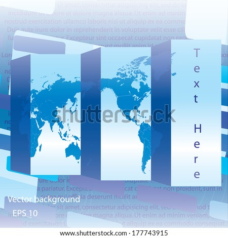Editable blue business world map - stock vector