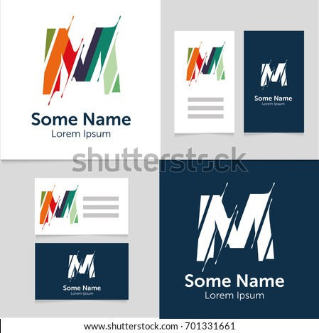 Editable business card template m letter stock vector 701331661 editable business card template with m letter logoctor illustrationeps10 wajeb Gallery