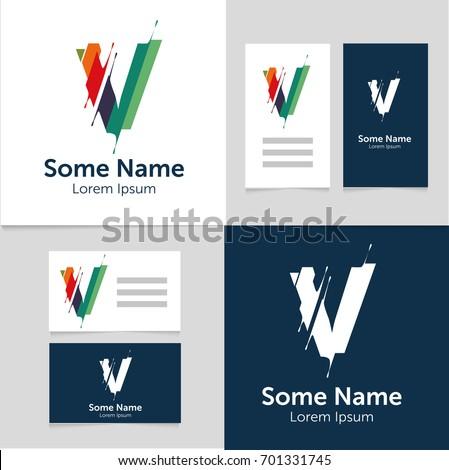 V name editable business card template with v letter logoctor illustrationeps10 flashek Choice Image