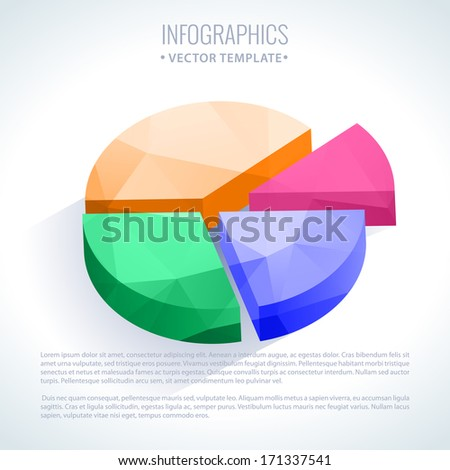 Editable business info graphic pie diagram graph chart with colorful bright triangle pattern
