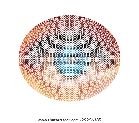 Editable colored doted eye - stock vector