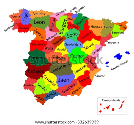 Editable colorful vector map of Spain. Vector map of Spain isolated on background. High detailed. Autonomous communities of Spain. Administrative divisions of Spain, separated provinces with color.  - stock vector