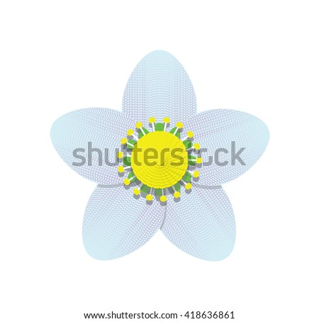 Editable cute blue flower icon isolated on white background. Abstract geometric flower logo. Floral element for design. Flower elements are easy to change. 10 EPS vector file - stock vector