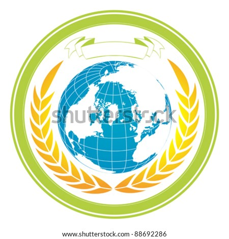 Editable Earth globe stamp with wreath and banner - stock vector
