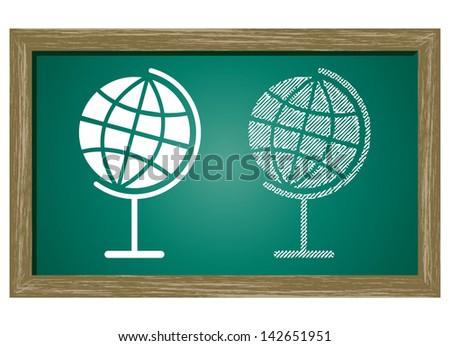Editable icon of Globe Isolated On Green Blackboard - stock vector