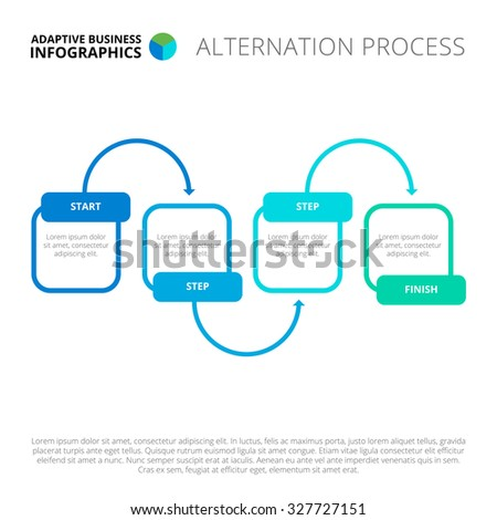 Editable infographic template of alternation process chart, blue and green version - stock vector
