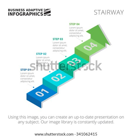 Editable infographic template of process arrow chart in form of stairway, blue and green version - stock vector