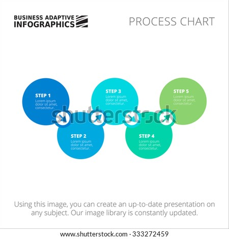 Editable infographic template of process chart, blue and green version - stock vector