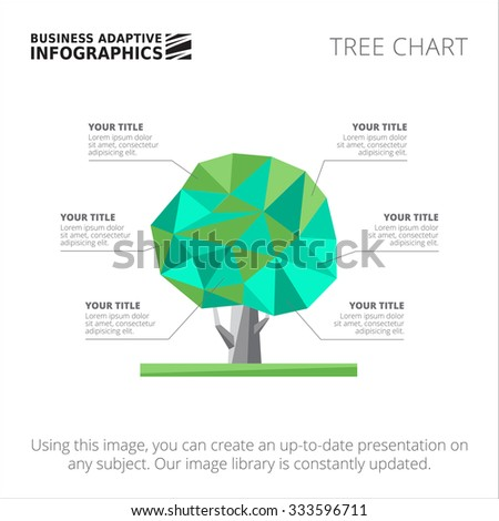 Editable infographic template of tree chart template, blue and green version