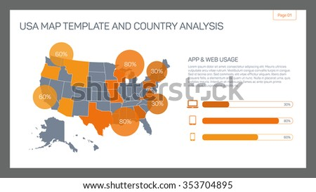 Editable infographic template of USA map template and country analysis with percent marks, bar chart and sample text - stock vector