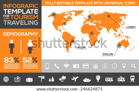 Editable infographic template with world map and icons related to traveling, tourism, transport and holidays - stock vector